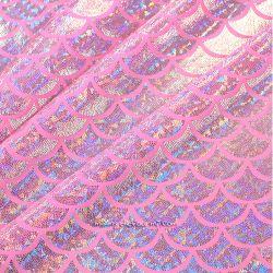 Lycra écailles hologramme rose malabar