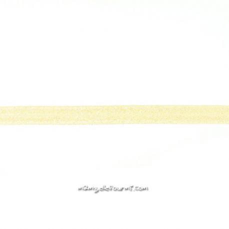 Biais élastique préplié scintillant vanille-20mm