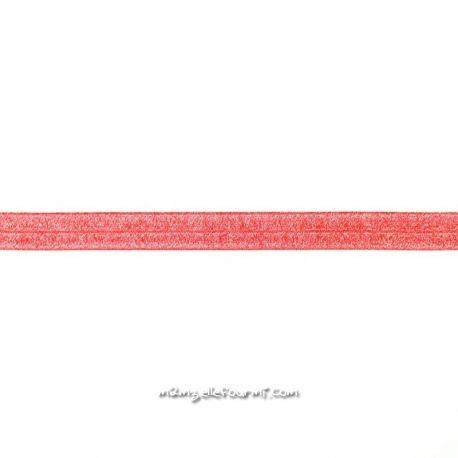 Biais élastique préplié scintillant rouge-20mm