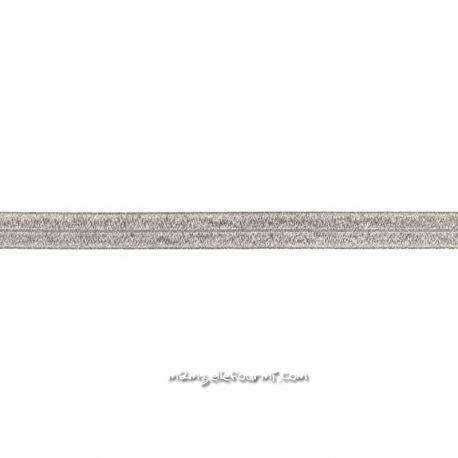 Biais élastique préplié scintillant gris foncé-20mm