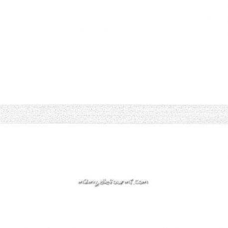 Biais élastique préplié scintillant blanc-20mm