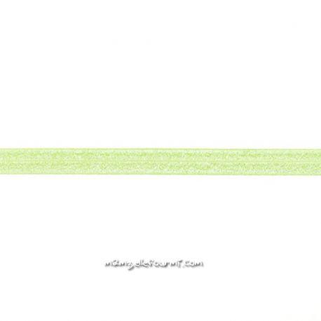 Biais élastique préplié scintillant lime-20mm