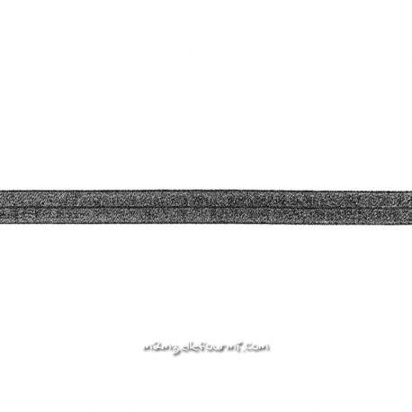 Biais élastique préplié scintillant noir-20mm