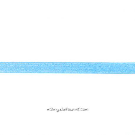 Biais élastique préplié scintillant turquoise-20mm