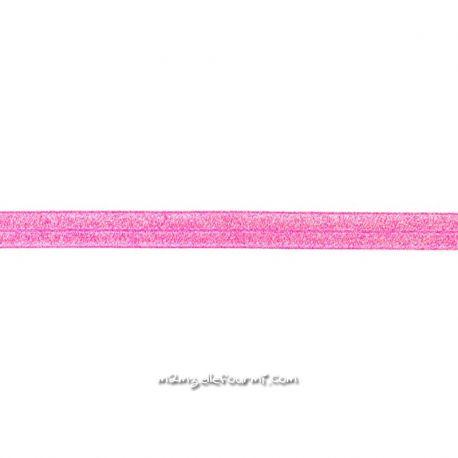 Biais élastique préplié scintillant fuchsia-20mm