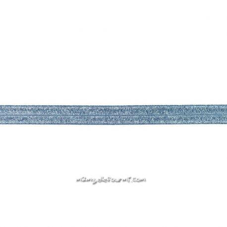 Biais élastique préplié scintillant bleu jeans-20mm