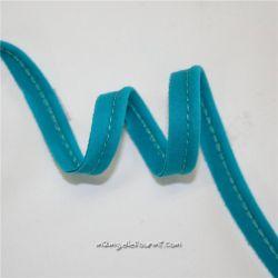 Passepoil bio popeline tile blue