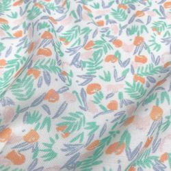 Viscose jungle de fleurs abricot