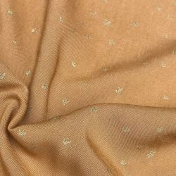 Viscose golden flowers caramel
