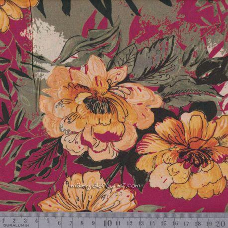 Viscose stretch fleurie framboise