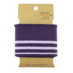 Bord-côte rayé violet/parme