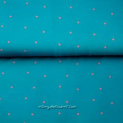 Jersey pois rose sur turquoise