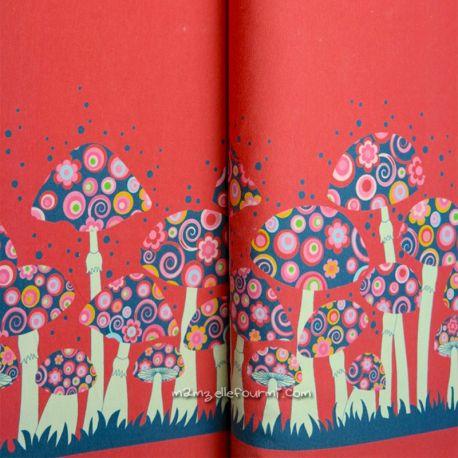 Jersey bordure champignons rouge foncé