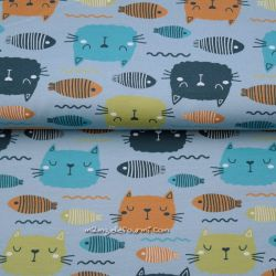 Jersey bio poissons/chats bleu/gris