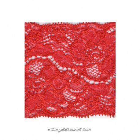 Dentelle élastique 80 mm rouge