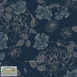 Jersey fleurs navy/mint