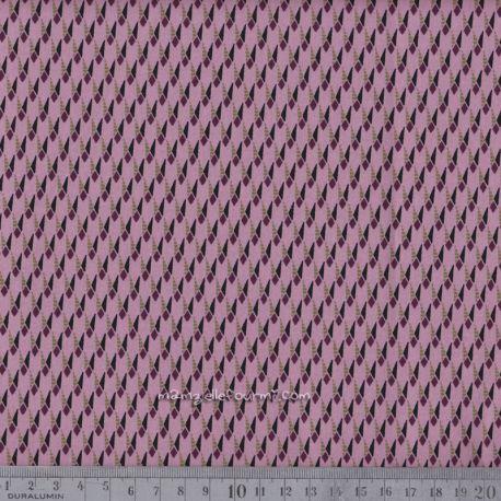 Satin de coton stretch mini géo rose