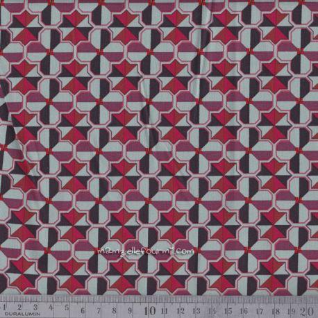 Satin de coton stretch trèfles menthe/rouge