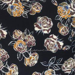 Crêpe stretch roses noir