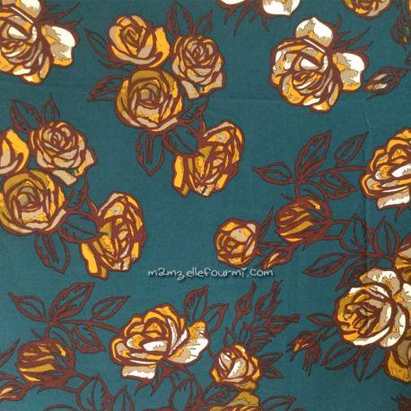 Crêpe stretch roses pétrole