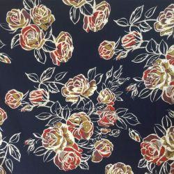Crêpe stretch roses navy