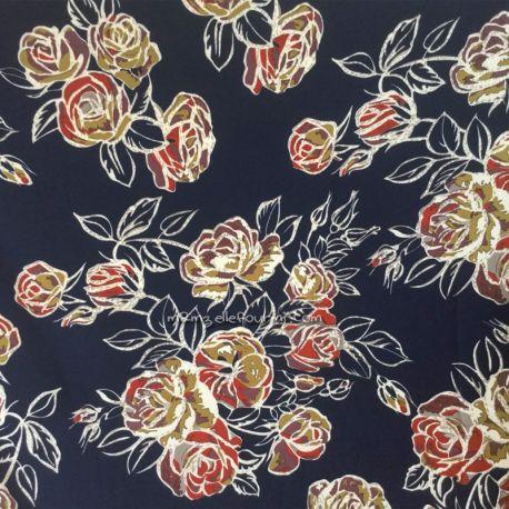 Crêpe stretch roses navy
