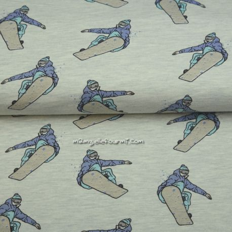Molleton snowboard chiné bleu très clair