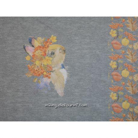Panneau jersey digital lapin chiné gris