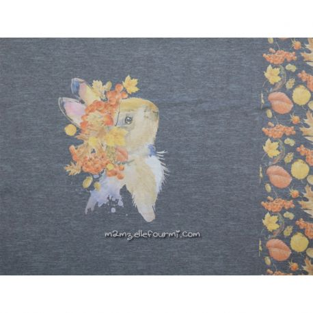 Panneau jersey digital lapin chiné gris foncé