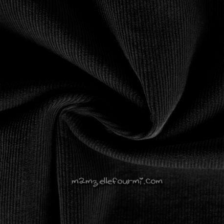 Velours milleraies stretch noir