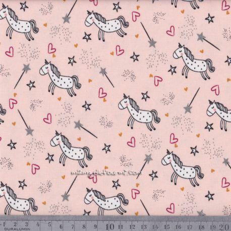 Jersey licornes glitter rose/argent
