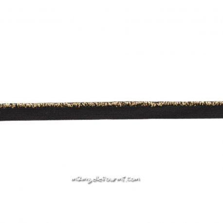 Passepoil élastique noir lurex or