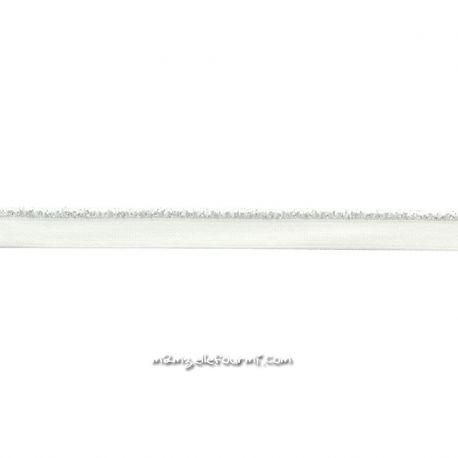 Passepoil élastique blanc lurex argent