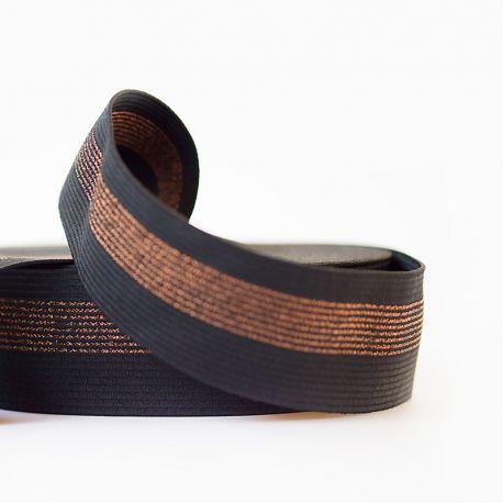 Élastique ceinture noir lignes cuivre