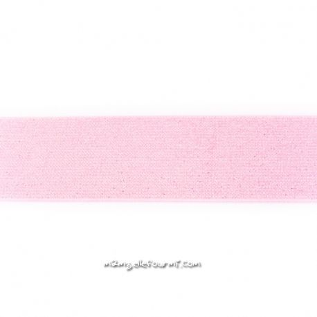 Élastique 50 mm lurex argent rose clair