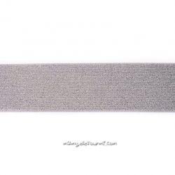 Élastique 50 mm lurex argent gris