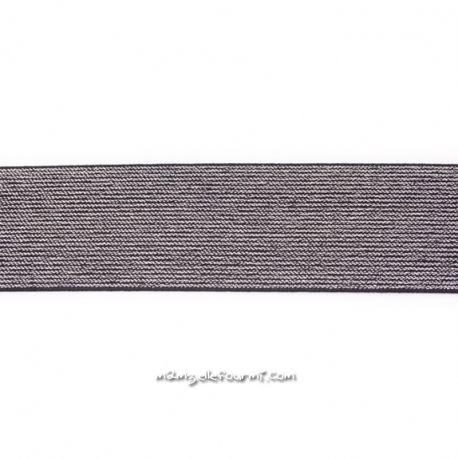 Élastique 50 mm lurex argent noir
