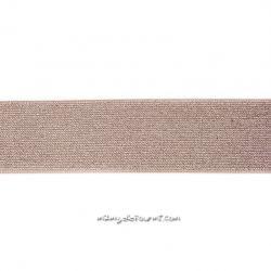 Élastique 50 mm lurex argent taupe