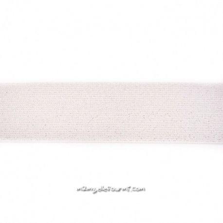 Élastique 50 mm lurex argent ivoire
