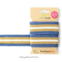 Bord-côte bio stripe me bleu/or/écru
