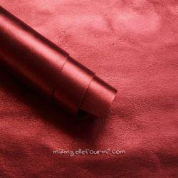 Cuir rouge métallisé