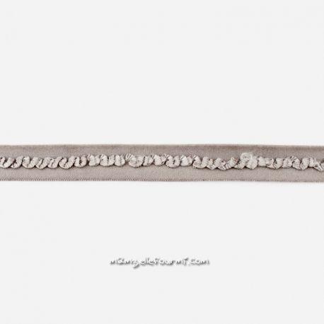 Élastique préplié dentelle gris moyen