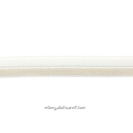 Biais élastique préplié blanc rayé lurex or
