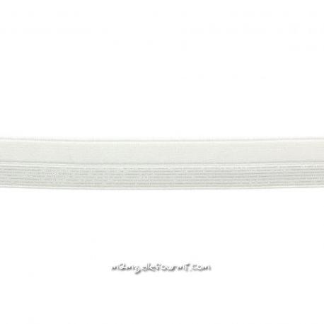 Biais élastique préplié blanc rayé lurex argent