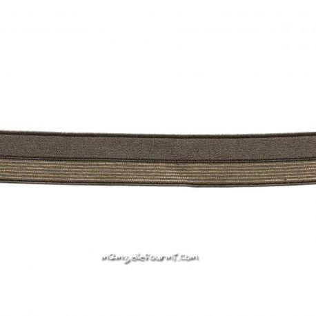Biais élastique préplié brun rayé lurex or