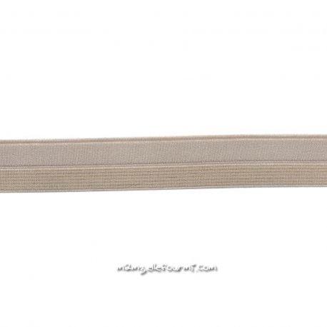 Biais élastique préplié nude rayé lurex or