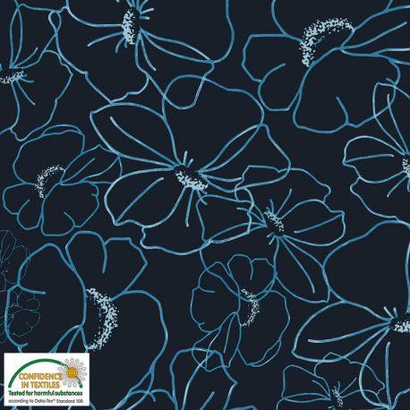 Jersey big flowers bleu