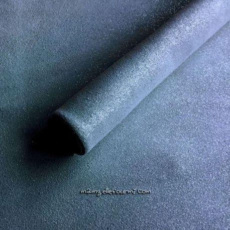 Croute de cuir gris/bleu pailleté argent