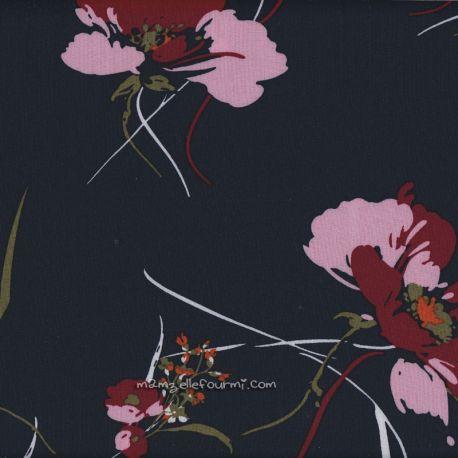 Viscose florale navy