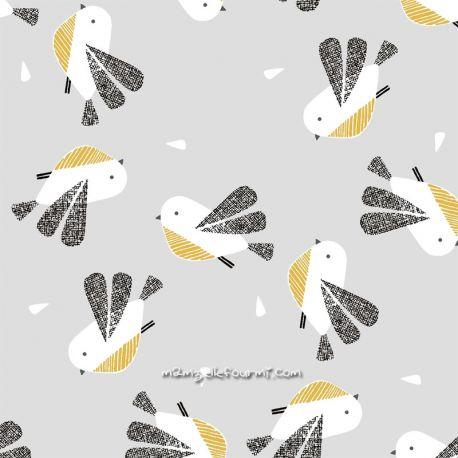 Coton nesting birds gris